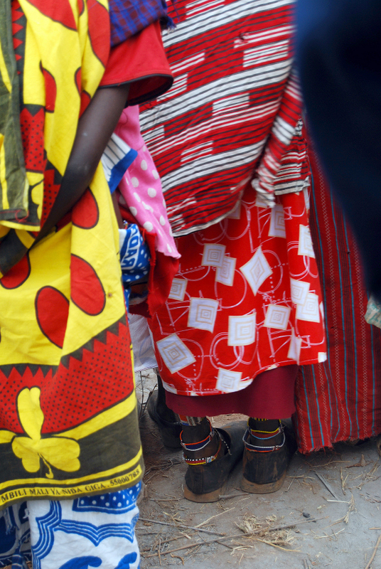 The highly colored and patterned clothes of the Maasai people