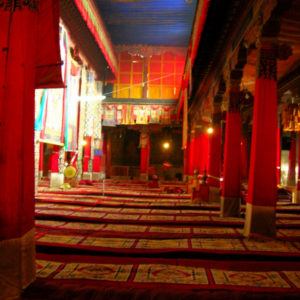 Red dominated the interior of this Tibetan monastery, while the blue ceiling opened the space further as if it was the sky. In Tibetan culture, blue is regarded as a symbolism of sky and space, giving the feeling of depth. The Tibetans demonstrate color's ability to help open our senses to the surroundings.