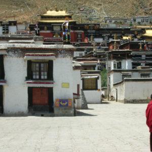 A monk on a stroll.