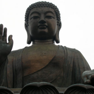 Front view of the Big Buddha on Ngong Ping