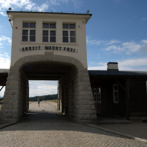 "Upon the entrance of concentration camp says, arbeit macht frei -- ""Work Makes You Free"""