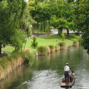 Punting on the Avon River. Christchurch Botanic Gardens.