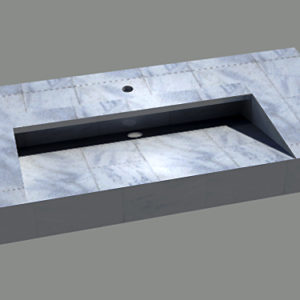 Rendered marble vanity top model with spout shown on top. Drain or flange nearly concealed in shadow in the sink basin.