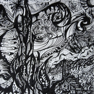 """Ink Rendition of Vincent Van Gogh's Starry Night, 18x22"""" (Not Available)"""