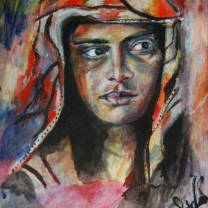 "Muslim Woman Weeps - 14x17"" acrylic"