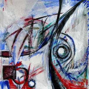 """Madness - 33x33"""" acrylic mixed media (Available)"""