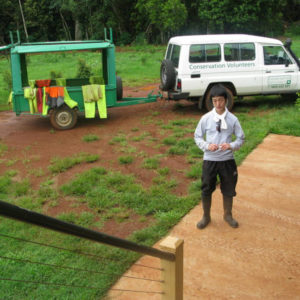 Fellow nature conservation volunteer prepares to work at the rainforest.
