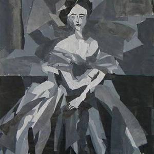 Paper collage rendition of The Princesse de Broglie by Jean Auguste Dominique Ingres