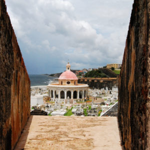 Looking out from El Morro Fortress at the San Juan Cemetery