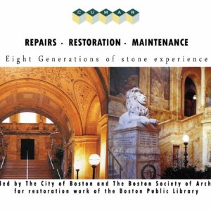 Boston Public Library marble stone restoration project. Direct mail postcard.