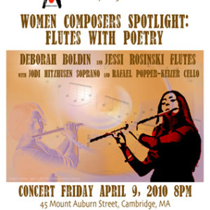 "Promotional material for Art Without Borders and Spindrift Music Company. ""Women Composers Spotlight: Flutes With Poetry"" event at Democracy Center, Cambridge, Massachusetts."