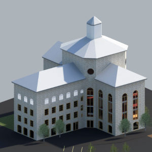 Model rendering of The Liberty Hotel in Boston using Revit Architecture software; model and rendering by Jenny S.W. Lee