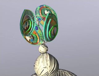 peacock lamp model rendering