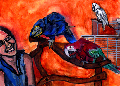 Macaw (part of a series of approx. 30 pieces) - watercolor