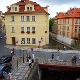 Certovka Hotel (Devil's Stream or Little Venice) is beside an artificial channel of the Vltava river