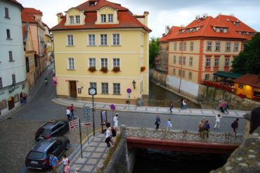 Certovka Hotel (Devil's Stream or Little Venice) is beside an artificial channel of the Vltava river, Prague, Czech Republic - photography by Jenny SW Lee