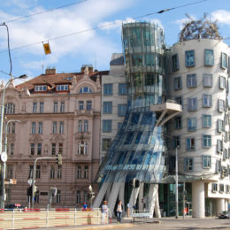 Dancing House tower with restaurant, designed by Frank Gehry