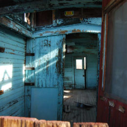 interior of abandoned caboose