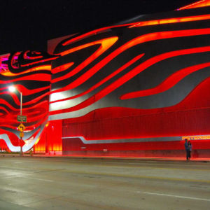 Street view of the Petersen Automotive Museum