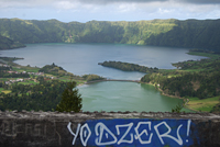 Sete Cidades lagoon from Monte Palace, São Miguel Island, Azores Portugal