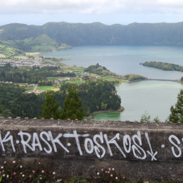 Roof of Monte Palace. View of Sete Cidades Lagoon.