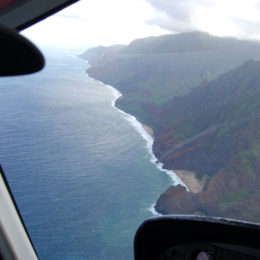 View of Na Pali Coast from the helicopter.