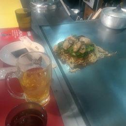 Okonomiyaki dinner. Famous dish in Hiroshima.