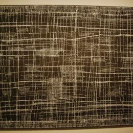 "Mina Mina (Black and White) by Dorothy Napangardi ""dried up salt lake from the air..."""