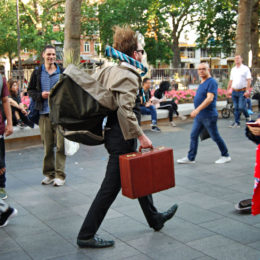 street entertainer in Soho