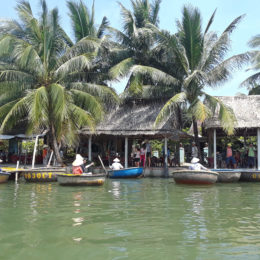 Bamboo boats on Thu Bon River