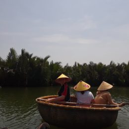 Bamboo boats on Thu Bon River